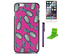 The Pink Pineapple Pattern Plastic Hard Case with Screen Protector,Stylus and Stand for iPhone 6 Plus