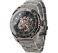 Men's Auto-Mechanical Skeleton Black Steel Band Wrist Watch