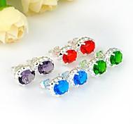 mode topaze bleue ovale de quartz vert améthyste pierre de quartz rouge Stud Argent quotidien boucles d'oreilles 1 paire