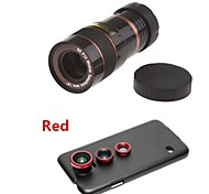 8X Telephoto Lens / Fisheye Lens/ Wide Angle & Macro Lens Kit with Back Case for Samsung Galaxy S5 I9600(Assorted Color)