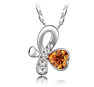 Dance of Butterfly Short Necklace Plated With 18K True Platinum Topaz Crystallized Austrian Crystal Rhinestone