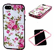 2-in-1 Pink Rose Peony Pattern TPU Back Cover with PC Bumper Shockproof Soft Case for iPhone 5/5S