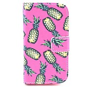 Pink Pineapple Pattern PU Leahter Full Body Cover with Stand and Card Slot for Samsung Galaxy Trend Plus S7580/S7562