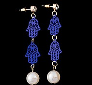 Blau ist hohl-out Bergamotte lange Ohrringe