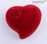 Lureme®Textile Made Heart Shaped Red Jewelry Box
