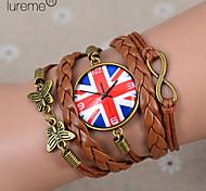 lureme®british reloj bandera nacional pulsera de cuero trenzado