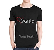Personalized Rhinestone T-shirts Heart Santa Pattern Men's Cotton Short Sleeves