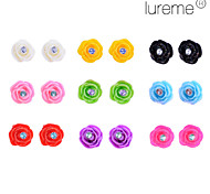 Lureme®Colorful Rose Shape  Stud Earrings Set(9 pairs per Set)