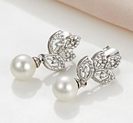 Tiny CZ Pearl Drop Earrings for Women(More Colors)