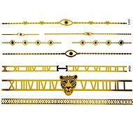 2Pc Gold Long Bracelet Tattoo Sticker 23x7.5CM