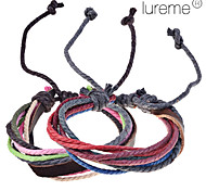 Lureme®Genuine Leather Braided Cord Bracelet (Random Color)