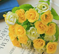 Qihang Seven Yellow Silk Roses in a Bunch Photography Props Artificial flowers
