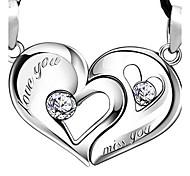 925 amantes beso corazón corazón colgante de plata (un par de venta)