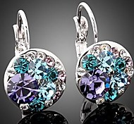 Fashion Round Colorful Crystal Ear Drop (1 pair)
