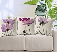 Набор из 3 элегантные светло-фиолетовый цветочный узор хлопок / лен Декоративные подушки крышки