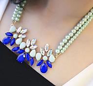 Fashion Modern Women's Stylish Beads Teardrop Crystal Pearl Neclace Statement Necklace
