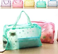 Bathroom Gadgets,Flower pattern portable transparent bathing Storage Bags(Random Color)