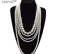 Lureme®Multilayer Pearls Statement Necklace