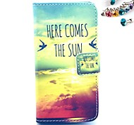 Sky Pattern PU Leather Full Body Case with Card Slot and Stand for iPhone 4/4S