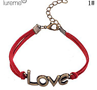 Lureme®Love Pattern Leather Alloy LOVE Pattern Charm Bracelet