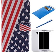 American Flag Design PU Leather Full Body Case with Stylus、Protective Film and Soft Pouch for Motorola G2