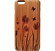 Kyuet Bamboo Case Artist Made Natural Bamboo Laser Engraving Spring Grass Cover Skin Cell Phone Case for iPhone 6 Plus