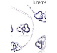 Lureme women's Double Heart Necklace Earring Bracelet Ring Jewelry set(Assorted Color)