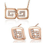 Z&X® European Style 18K Rose Gold Plated Rhinestone Necklace And Earrings Jewelry Set (1 set)
