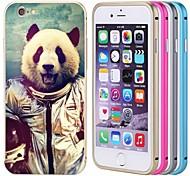 lacdo® astronauta panda tampa traseira de alumínio caixa de metal pára-choques quadro completo para proteger iphone 6 mais (cores sortidas)