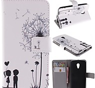 Dandelion and the Design of Lovers PU Leather Full Body Case with Stand and Card Slot for Motorola G2