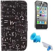 motif de l'équation cuir PU couvercle complet du corps avec le porc reposer et film protecteur pour iPhone 4 / 4S