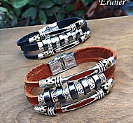 Eruner®Men's Punk Style Stainless Ring Three Layers Leather Bracelets(Assorted Colo