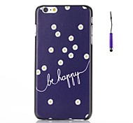 """""""Be Happy"""" Words with Daisies Pattern PC Hard Back Cover Case for iPhone 6"""