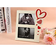 Personalized Framed Photo Double 6 Inches In One Love Design White Wooden Frame with Stand 2 Photos