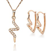 Z&X® European Style 18K Gold Plated Contracted Necklace Earrings Jewelry Set (1 set)