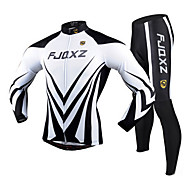 FJQXZ Men's Cycling Sets(Jersey+Pants) Winter Autumn Long Sleeve Polyester Mesh Jersey Lycra Cushion Tights White+Black Breathable Cycling Suit