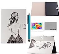 coco Fun® zurück Mädchen Muster PU-Leder Flip-Standplatzfall mit Film und Stylus für Samsung Galaxy Tab 10.5 s t800