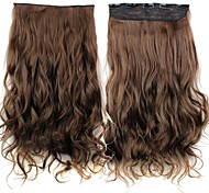 24 Inch 120g Long Brown Heat Resistant Synthetic Fiber Curly Clip In Hair Extensions with 5 Clips