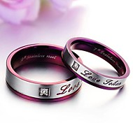 Love Exquisite Gift Set Auger Titanium Lovers Ring Luxury Love Purple
