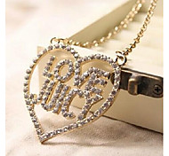 Love Is Your Heart Filled with Drilling Sweater Chain Pendant Necklace