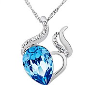 925 Sterling Silver Be Elated Blue Crystal Heart Necklace With Water Wave Necklace