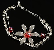 Fashion Hot Sell 30mm Flower-shaped Crystal with Rhinestone  Red Silver Plated Anklet for Girls