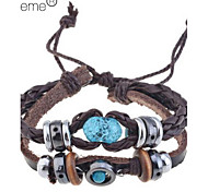 Ambre bracelet de perles Vintage en cuir