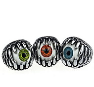 Halloween Grotesque Gothic Sharp Teeth Silver Alloy Men's Statement Eye Rings(1 Pc)