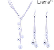 Lureme women's Matte Little Ball 925 Sterling Silver Plated Jewelry Set(Necklace & Earrings)