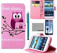 COCO FUN® Pink Purple Owl Pattern PU Leather Case with Screen Protector and Stylus for Samsung Galaxy S3 I9300