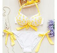 Women's Fashion Sexy Yellow Flower Split Push Up Bikini Set Swimwear Swimsuit Beachwear