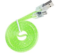 Hand Weaved &Transparent Design USB Universal Data Flat Cable (Length:95cm)(Assorted Colors)