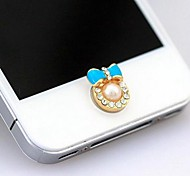 1Pcs Pearl Small Bow Rhinestone 1cm Buttons Stickers for iPhone and Others