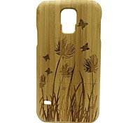 Kyuet Bamboo Case Natural Superior Bamboo Engraving Spring Grass Shell Cover Skin Cell Phone Case for Samsung Galaxy S5